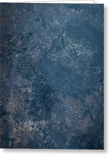 Blue Rustic Metal Background Greeting Card by Brandon Bourdages