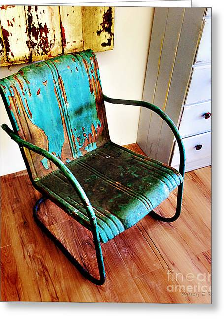 Stein Greeting Cards - Blue Rusty Chair Greeting Card by Nancy E Stein