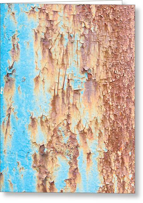 Metal Sheet Greeting Cards - Blue rusty metal Greeting Card by Tom Gowanlock