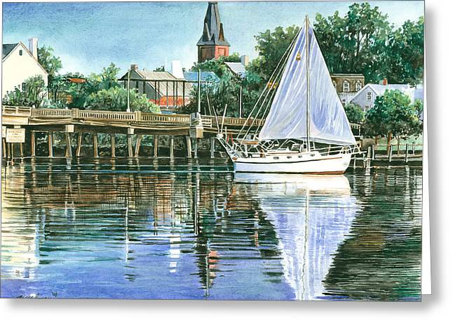 Reflecting Water Drawings Greeting Cards - Blue Sails Copy Greeting Card by Mark Mahoney