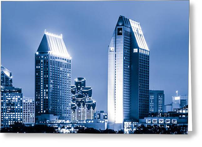 Western Usa Greeting Cards - Blue San Diego Skyline at Night Panoramic Picture Greeting Card by Paul Velgos