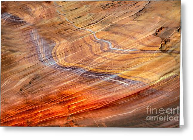 Shale Greeting Cards - Blue Sandstone Streaks Greeting Card by Robert Bales