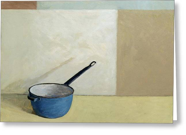 Enamel Greeting Cards - Blue Saucepan Greeting Card by William Packer