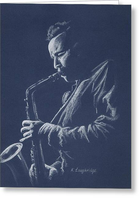 Playing Musical Instruments Pastels Greeting Cards - Blue Sax Greeting Card by Karen  Loughridge KLArt