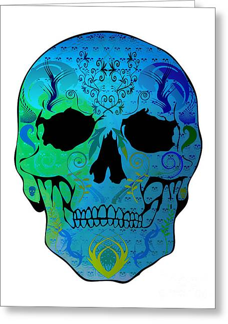 Scull Greeting Cards Greeting Cards - Blue Skull Greeting Card by Mauro Celotti