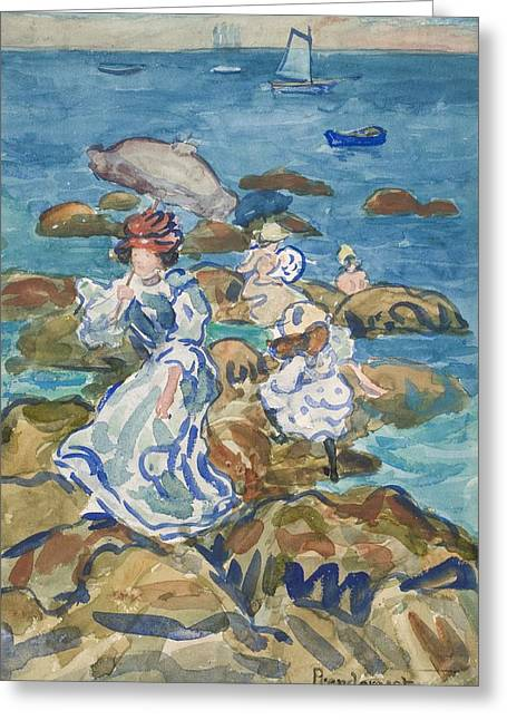 Blue Sea Classic Greeting Card by Maurice Brazil Prendergast