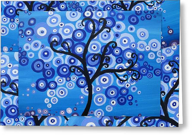 Photography Of Framed Pictures Greeting Cards - Blue Sea Tree of Life Greeting Card by Cathy Jacobs