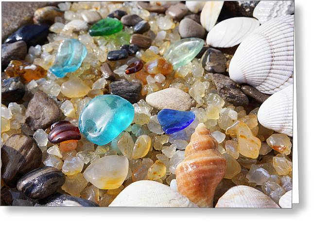 Agate Beach Greeting Cards - Blue Seaglass Art Prints Shells Agates Rocks Greeting Card by Baslee Troutman