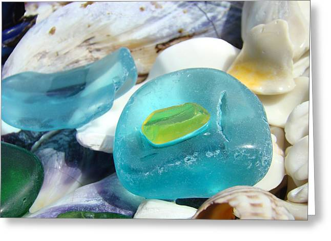 Seaglass Greeting Cards - Blue SEAGLASS Green Art Prints Beach Shells Greeting Card by Baslee Troutman