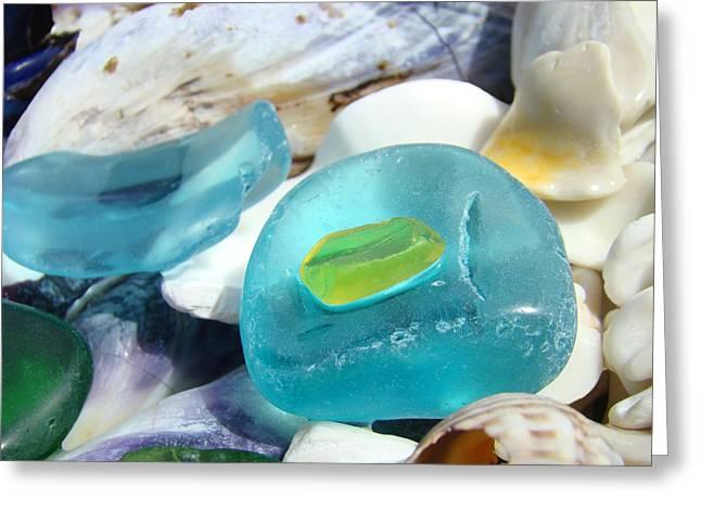 Blue Seaglass Green Art Prints Beach Shells Greeting Card by Baslee Troutman