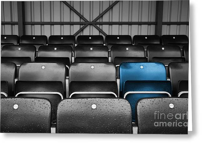 Football Photographs Greeting Cards - Blue Seat in the Football Stand Greeting Card by Natalie Kinnear