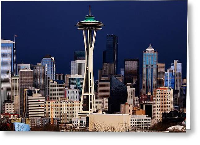 Urban Space Greeting Cards - Blue Seattle Panorama Greeting Card by Benjamin Yeager