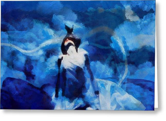 Salvation Mixed Media Greeting Cards - Blue Seduction Greeting Card by Dan Sproul