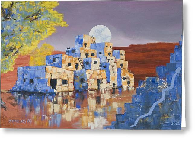 Blue Serpent Pueblo Greeting Card by Jerry McElroy