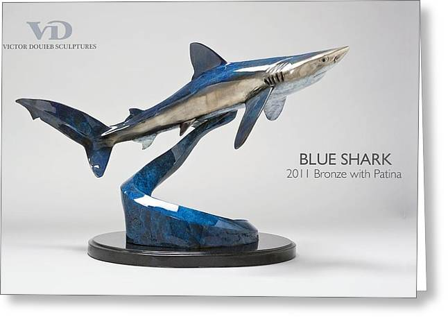 Sharks Sculptures Greeting Cards - Blue Shark Greeting Card by Victor Douieb