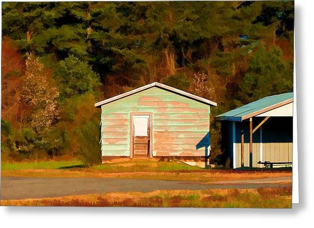 Blue Shed In Early Morning Light - Lake Wheeler Road Greeting Card by Paulette B Wright