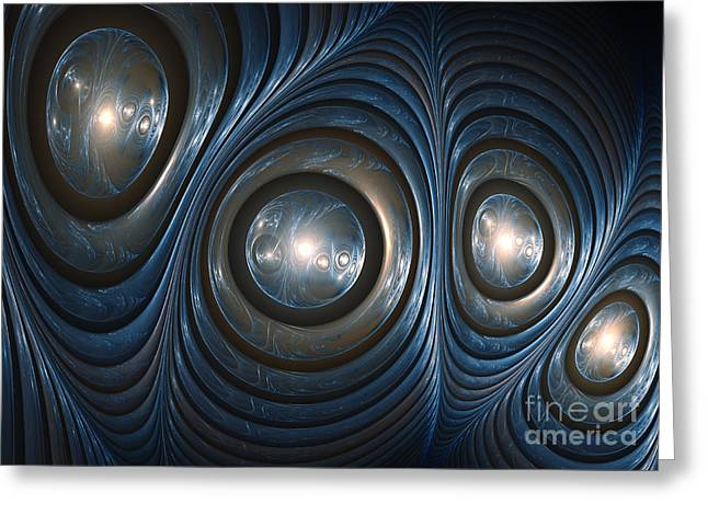 Fractal Orbs Greeting Cards - Blue shell Greeting Card by Martin Capek