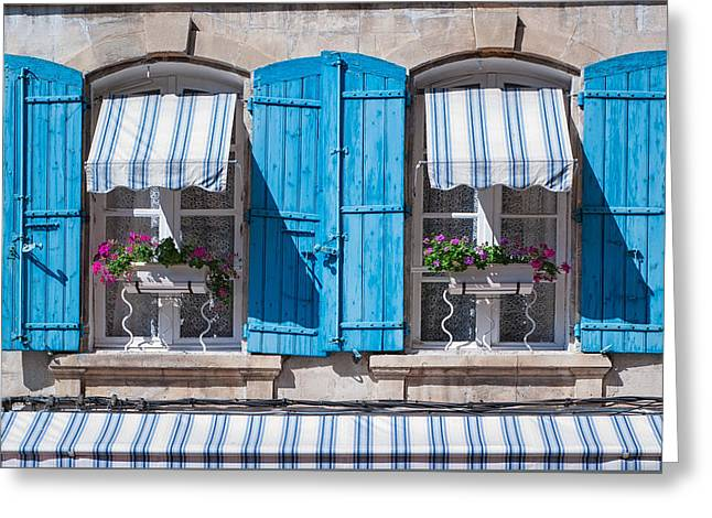 Provence Village Greeting Cards - Blue Shudders Greeting Card by Michael Blanchette