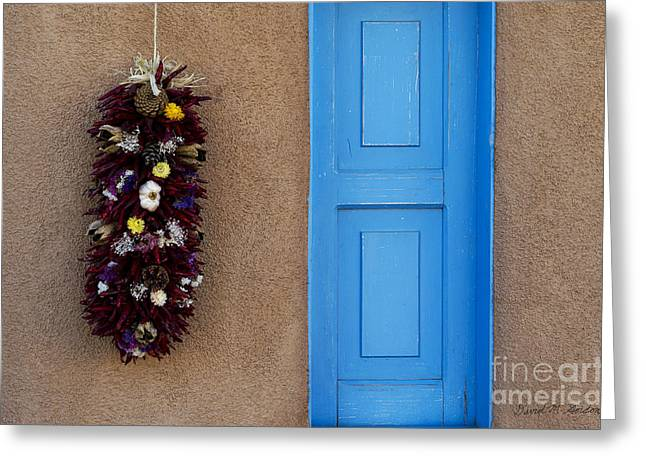 Taos Greeting Cards - Blue Shutter Greeting Card by David Gordon