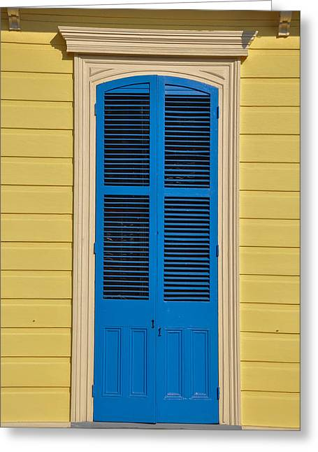 Blue Shutters Greeting Cards - Blue Shutter Door - New Orleans Greeting Card by Bill Cannon