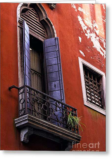 Red Buildings Greeting Cards - Blue Shutter in Venice Greeting Card by John Rizzuto