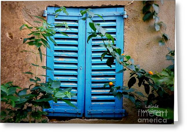 Lainie Wrightson Greeting Cards - Blue Shuttered Window Greeting Card by Lainie Wrightson