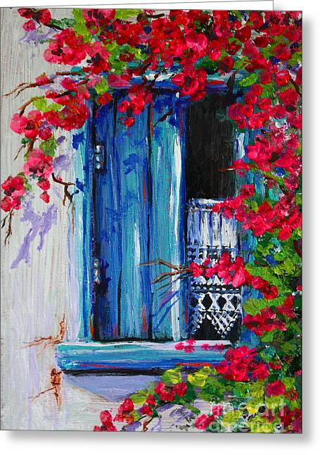 Blue Shutters 02 Greeting Card by Yvonne Ayoub