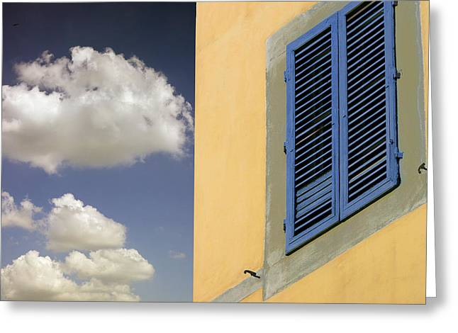 Medeival Greeting Cards - Blue Shutters Greeting Card by Al Hurley