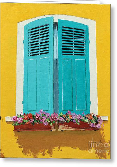 Flower Boxes Paintings Greeting Cards - Blue Shutters and Flower Box Greeting Card by Jean-Marc Janiaczyk
