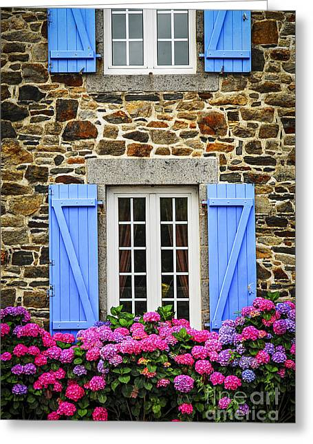 Shuttered Windows Greeting Cards - Blue shutters Greeting Card by Elena Elisseeva