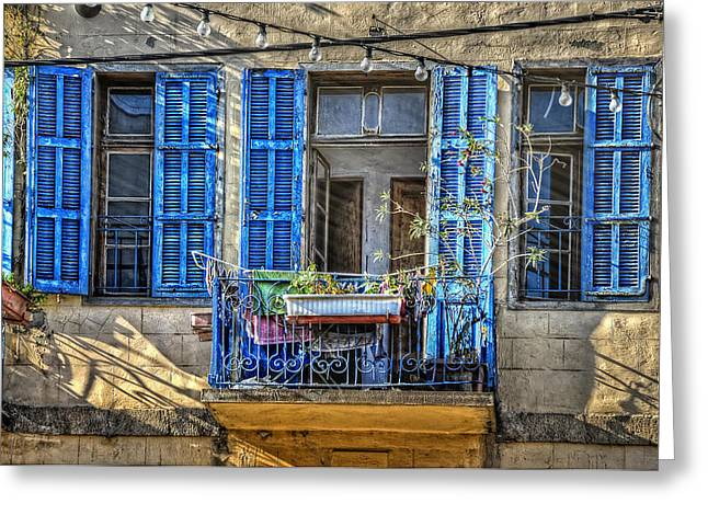 Stone Flower Planter Greeting Cards - Blue Shutters Greeting Card by Ken Smith