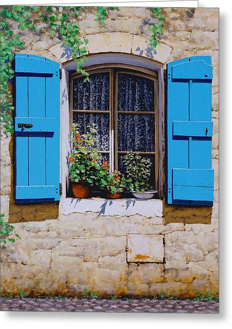 Blue Shutters Greeting Card by Michael Swanson