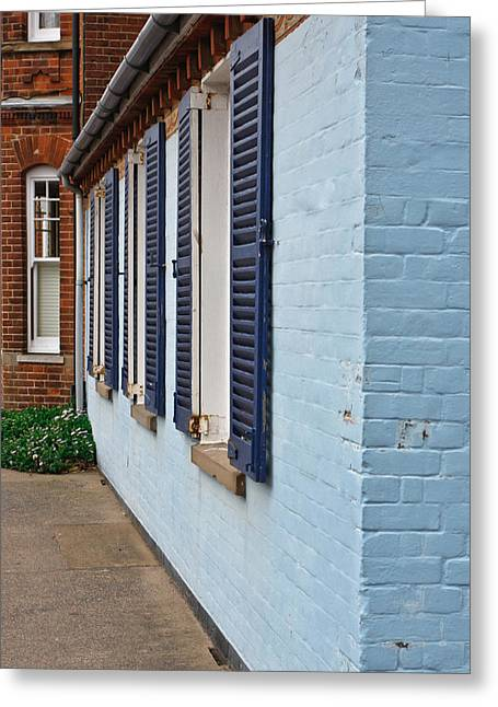 Blue Shutters Greeting Card by Tom Gowanlock
