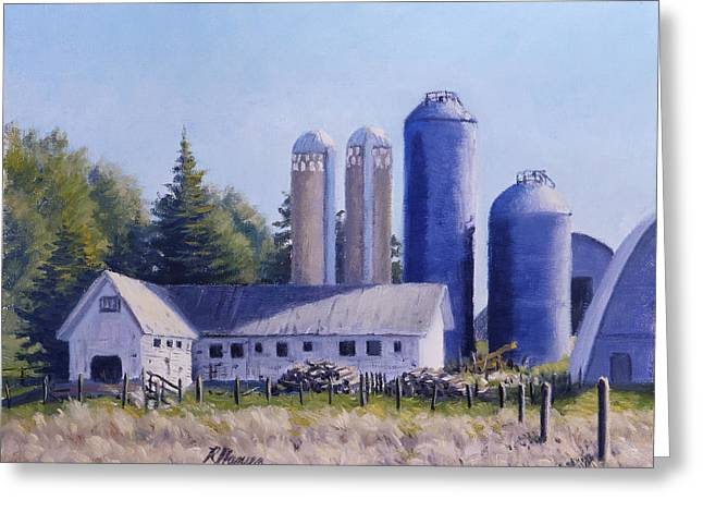 Plain Air Artist Greeting Cards - Blue Silos Greeting Card by Rick Hansen