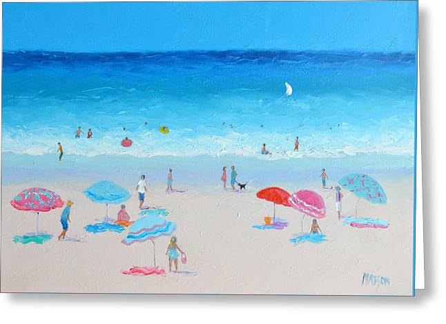 Beach Cottage Style Greeting Cards - Blue skies beach painting Greeting Card by Jan Matson