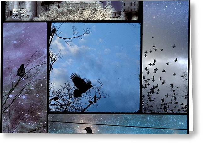 Crow Collage Greeting Cards - Blue Skies Greeting Card by Gothicolors Donna Snyder