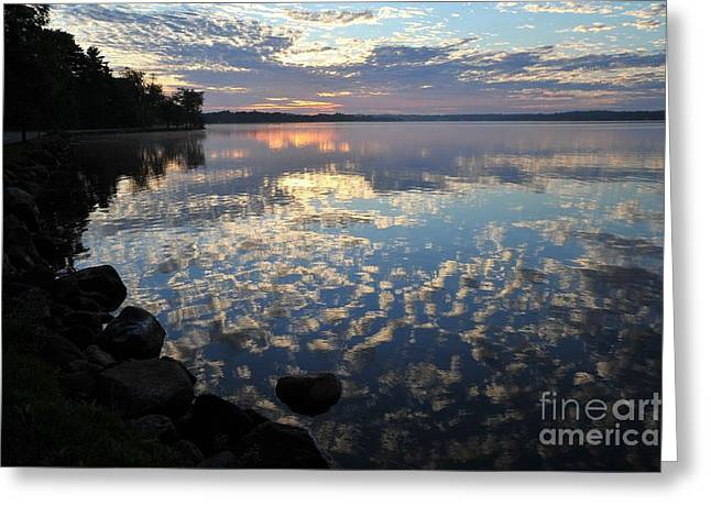 Blue Greeting Cards - Blue Skies in the Mirror Greeting Card by Terri Gostola
