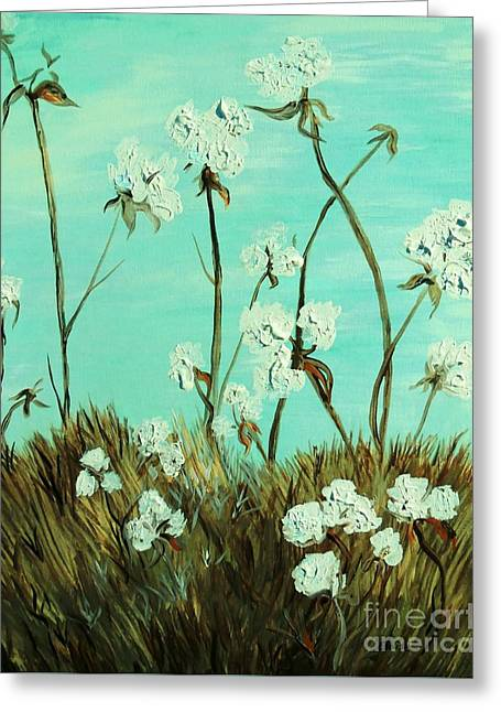 Fields Greeting Cards - Blue Skies over Cotton Greeting Card by Eloise Schneider