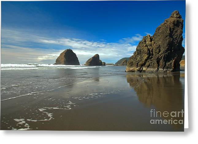 Blue Skies Over Meyers Beach Greeting Card by Adam Jewell