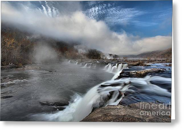 Landsacape Greeting Cards - Blue Skies Over Sandstone Falls Greeting Card by Adam Jewell