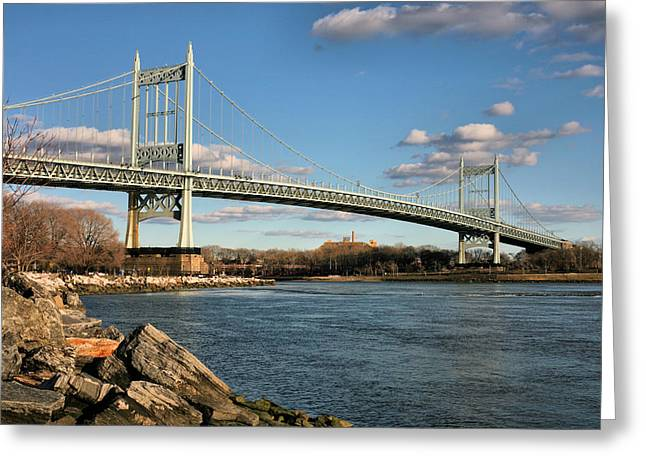 Harlem River Greeting Cards - Blue Skies over the Triboro Greeting Card by JC Findley