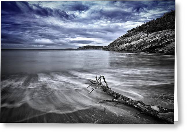 Maine Beach Greeting Cards - Blue sky ... High tide Greeting Card by Chad Tracy