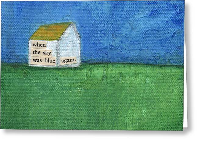 Folk Art Landscapes Greeting Cards - Blue Sky Again Greeting Card by Linda Woods