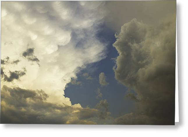 Puffy Clouds Greeting Cards - Blue Sky And Building dramatic Storm Clouds Maine Greeting Card by Keith Webber Jr
