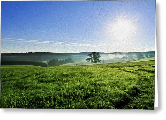 Lawns Fields Greeting Cards - Blue Sky and Fields Greeting Card by Aged Pixel