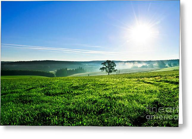 Spring Scenes Greeting Cards - Blue Sky and Fields Greeting Card by Aged Pixel