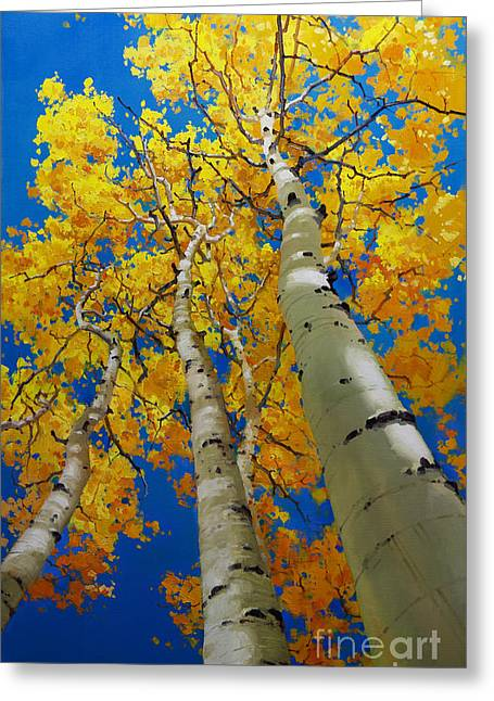 Blue Sky And Tall Aspen Trees Greeting Card by Gary Kim