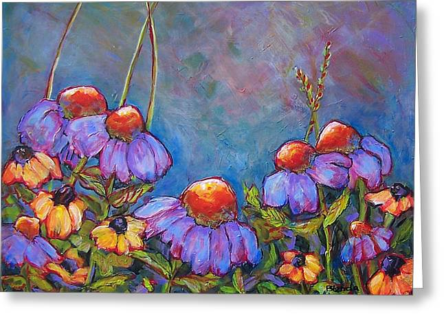 Floral Still Life Greeting Cards - Blue Sky Flowers Greeting Card by Blenda Studio