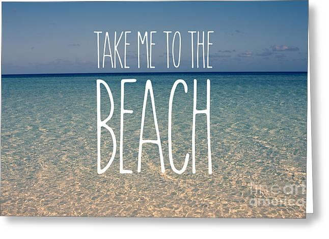 Blue Sky Golden Beach Sand Calm Ocean Waters Greeting Card by Beverly Claire Kaiya