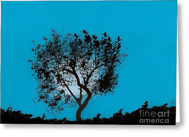 Skylines Pastels Greeting Cards - Blue Sky Moon Greeting Card by D Hackett